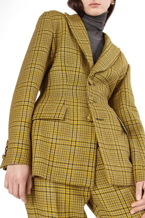 JACKET RACHEL CHECKED SAFFRON AND TROUSERS