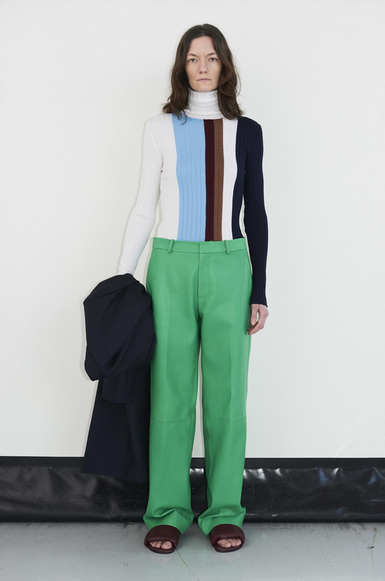 GAUCHERE Fall Winter 2021 Paris Fashion Week LOOK 12 Coat THEDA, Knit Top TAIO, Trousers TIDA
